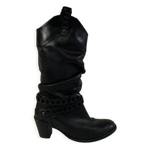 Fly London Leather Slouch Western Heeled Boots